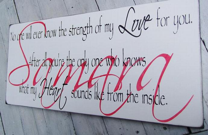 Strength of my Love quote sign, 12x24 Customized name Nursery Art, Baby Boy Baby