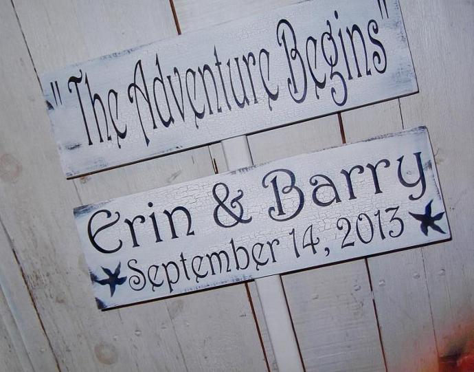 "Fun Wedding Directional Sign ""The Adventure Begins"" w customized bride & groom"
