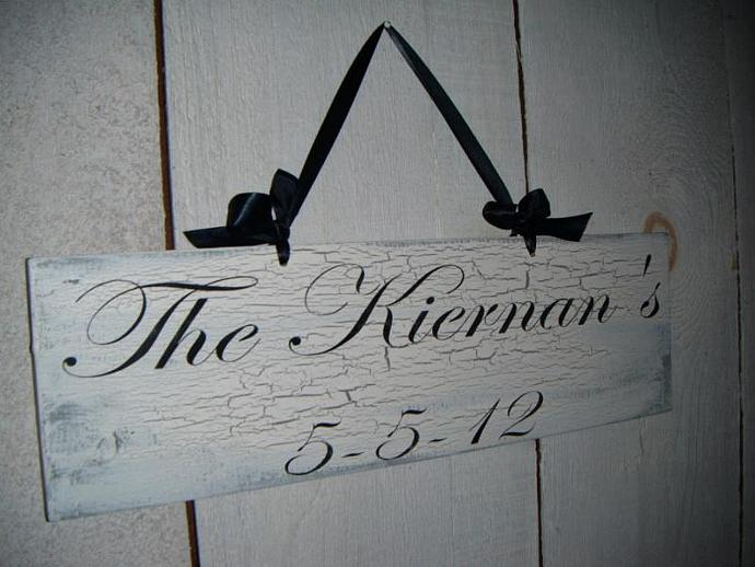 "Two sided wedding sign ""Here Comes the Bride"" and ""Your family name w date"" sign"