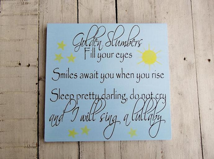 "Baby boy nursery art, baby girl nursery decor, Beatles song  ""Golden Slumbers"