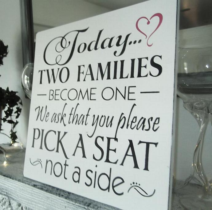 """Wedding Seating Plan Sign, Casual seating plan large 20x20 """"Today two families"""