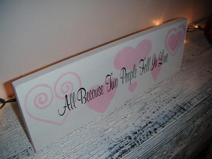 "Shabby Chic Wedding Sign, Baby Girl nursery decor, Valentine's Day - ""All"