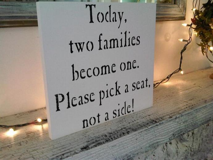 "Wedding Ceremony Seating Sign, seating plan chart  ""Today, two families become"