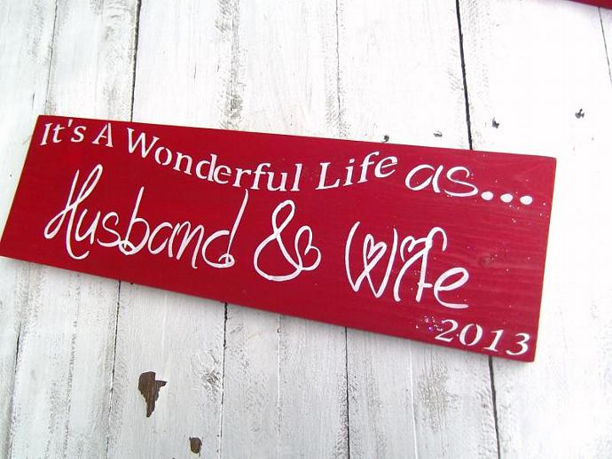 """Christmas Wedding Sign 1st Christmas Mr and Mrs """"It's a Wonderful Life as"""