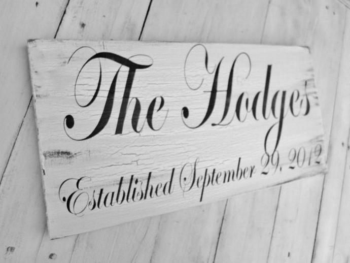 Family name sign, established name sign, customized wedding sign - large 10x18