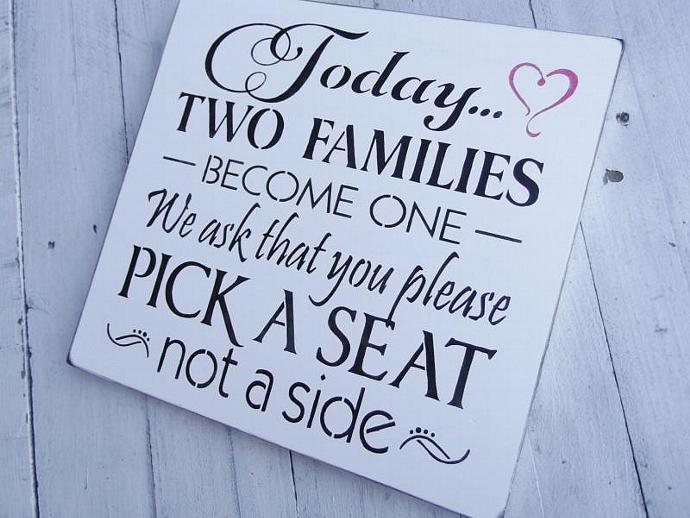 """Wedding Signs - Casual seating plan sign Ceremony """"Today two families become"""