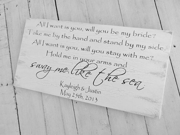 "Wedding signs, Beach wedding, Destination ""All I want is you. Will you be my"