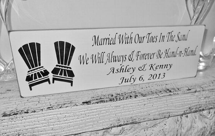 "Customized beach wedding sign, destination ""Married with our toes in the sand,"