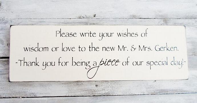 "Customized Wedding Quilt guest book reminder sign - ""... Thank you for being a"