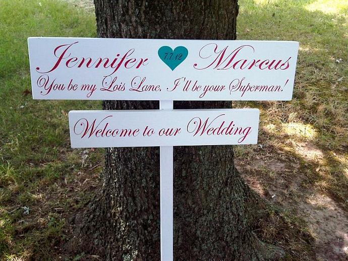 "Customized Directional Wedding Sign- ""You be my Lois Lane, I'll be your"