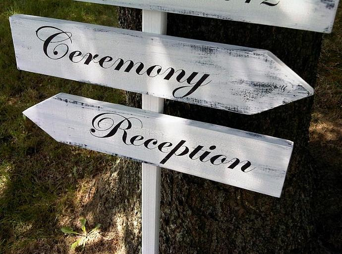 Directional Wedding Sign, Bride & Groom names, wedding date, Reception, Ceremony
