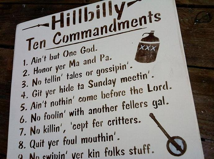 "Southern South, funny sign ""Hillbilly Ten Commandments"" - Redneck, Man Cave"