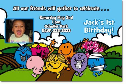 Mr. Men Birthday Party Invitations (Download JPG Immediately)