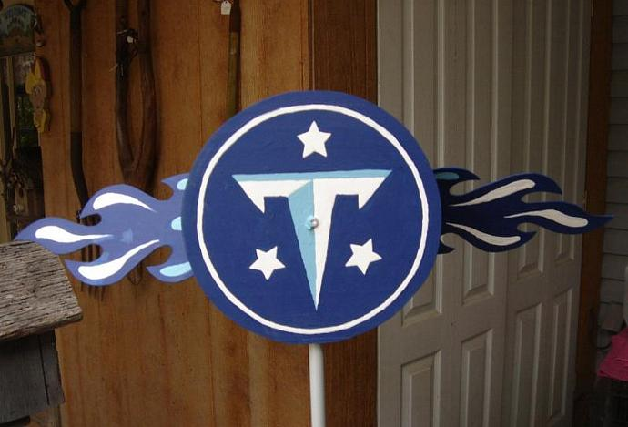 Hand-crafted Whirligig Titans Emblem red white blue