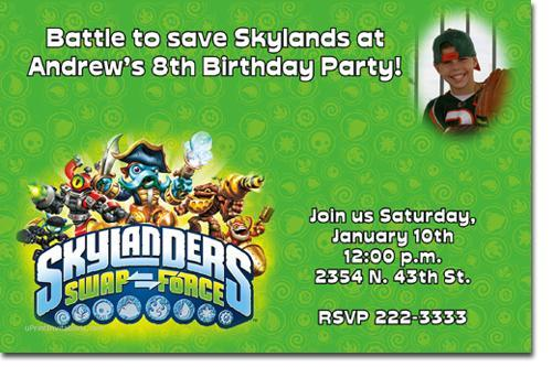 skylanders Spyros Adventure and Skylanders Giants Birthday Invitations