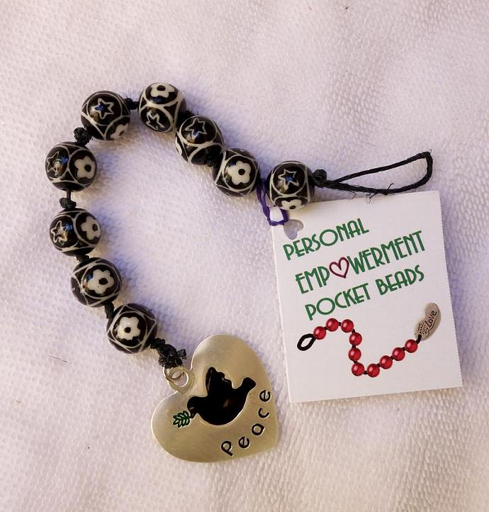 Black and White  Glass PEP Beads (#G13005)
