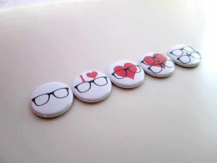 Geek Glasses Nerd Love - Five Button Pin or Magnet Set