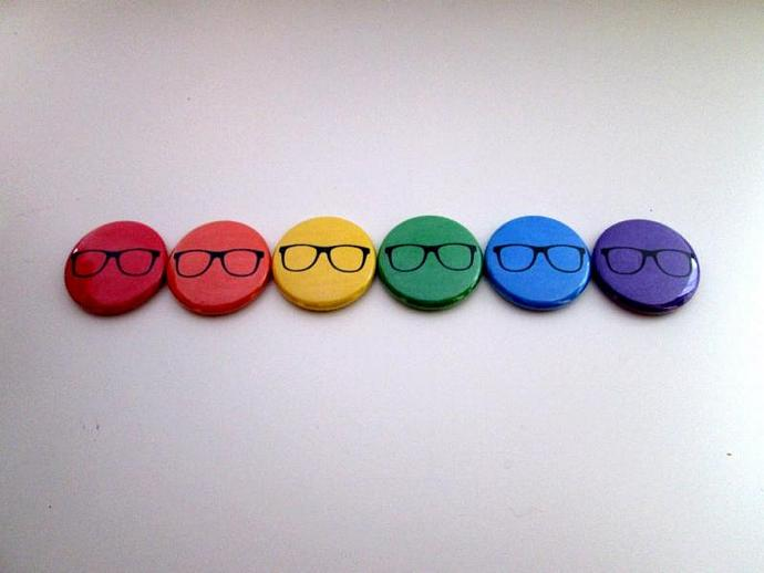 Rainbow Glasses - Six Button Pin or Magnet Set