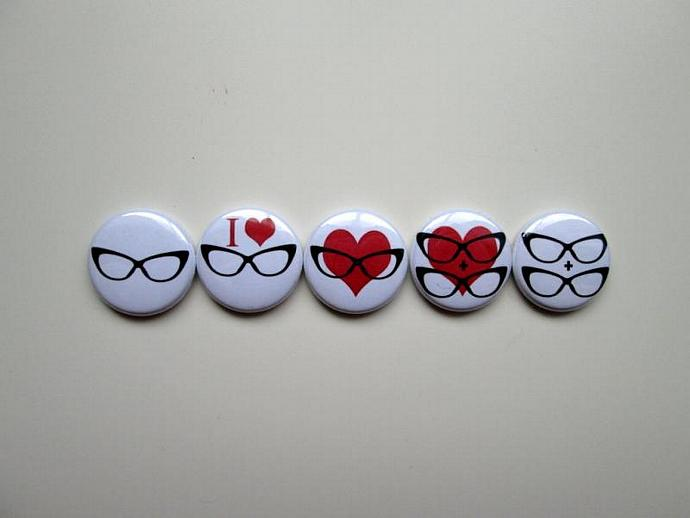 Cat Eye Glasses Nerd Love - Five Button Pin or Magnet Set