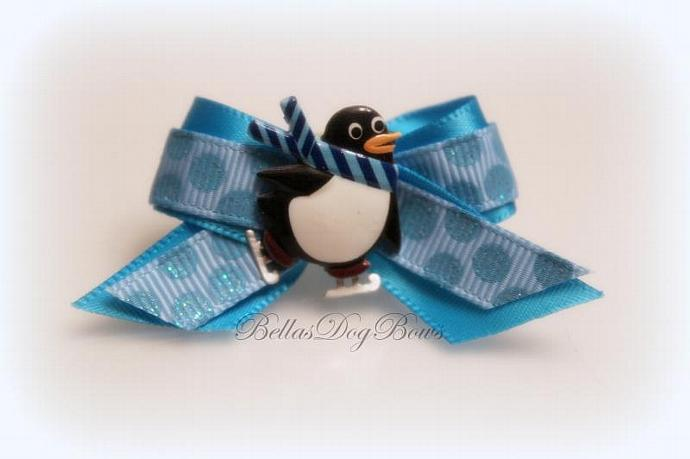 Chilly Willy Skating Penguin Winter Casual Dog Bow