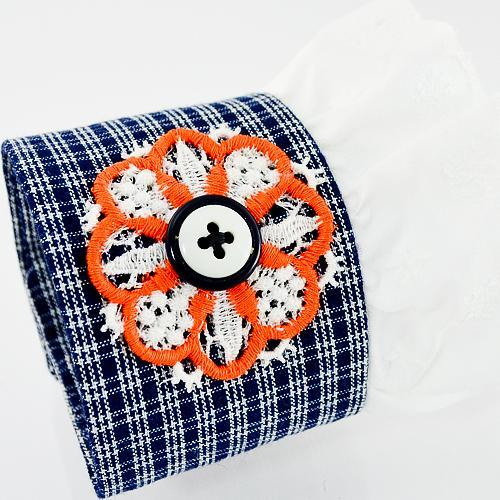 Blue Retro Wrist Cuff Eyelet lace Applique button