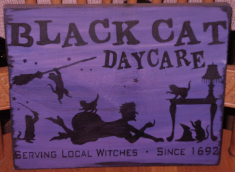 black cats daycare sign primitive by sleepyhollowprims on zibbet