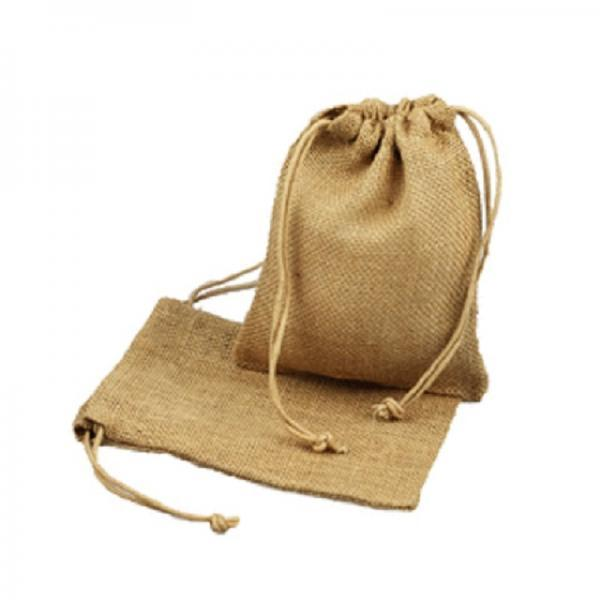 10 inch by 6 inch Burlap Bags with Drawstrings (Pack of 5)