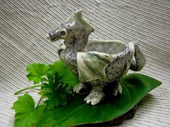 Baby Dragon / Whimsical Dragon Bowl / Magical Creature Dip Bowl / Candle Holder