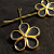 Black Five Petal Flower Button Hairpins