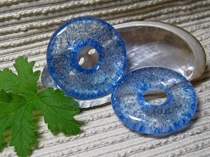 Jewelry Making Supplies /  Blue Glass Meditation Circle Pendant / Round Focal