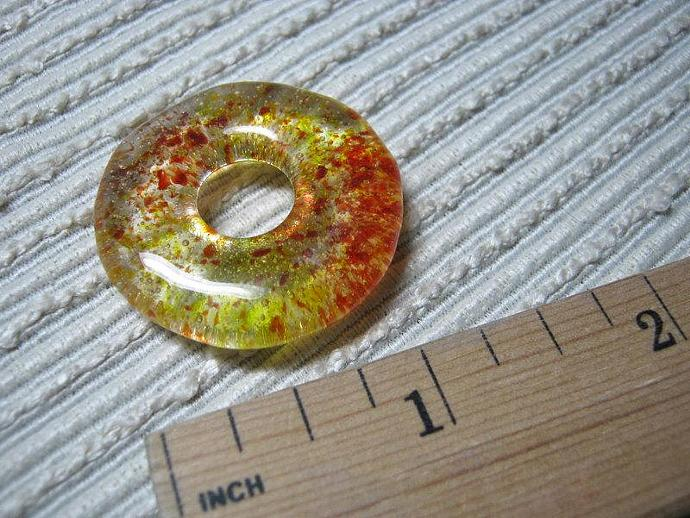ONE Glass Meditation Circle Pendant / Medium Round Donut Focal Bead / Yellow