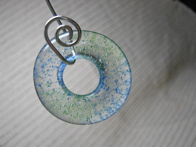 ONE Glass Blue Green Sprinkle Meditation Circle Pendant /Fused Glass / Handmade