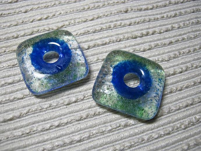 SQUARE Craft Bead /  Blue Green Sprinkles / Kiln Cast Glass Donut / Focal Bead /