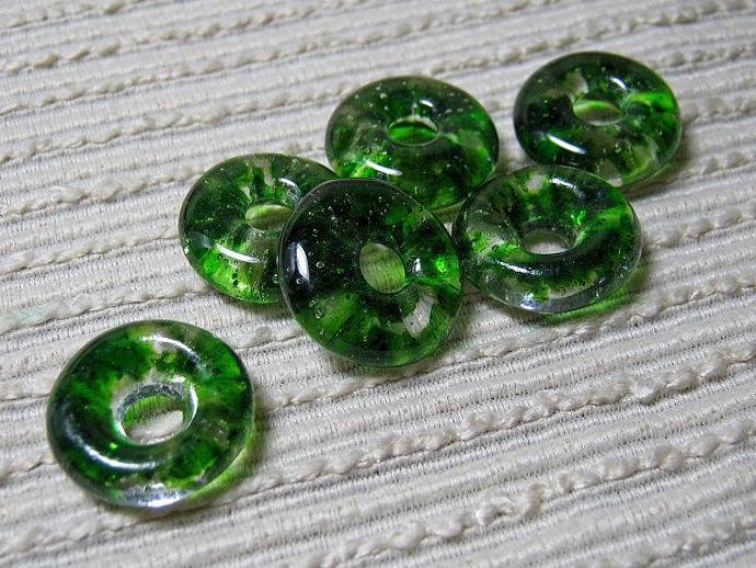 Handmade ROUND Cast Glass Beads / Set of 6 / Translucent Adventurine Green Blend