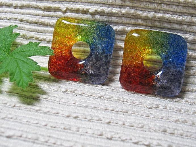 SQUARE Rainbow Bead / Kiln Cast Fused Glass Donut / Medium Focal Bead / Supplies