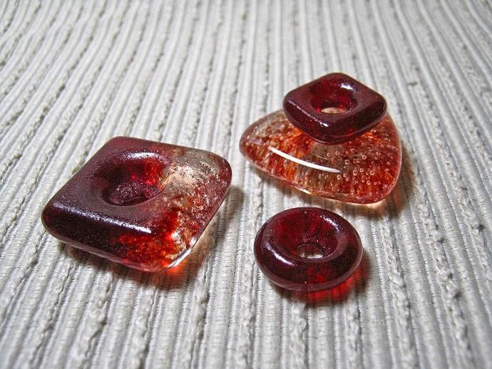 Handmade SQUARE Cast Glass Beads / Set of 6 /  Cherry Red / For Your  OOAK