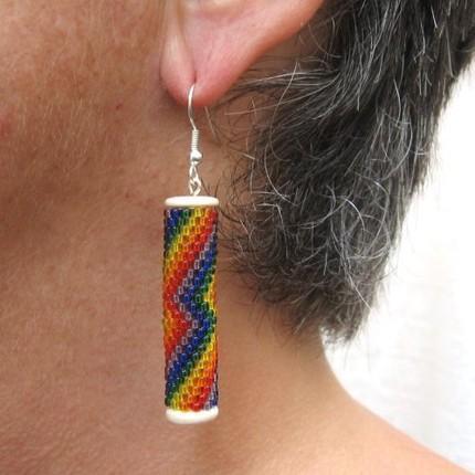 Earrings beaded tubes Rainbow Lightning