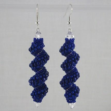 Beaded Cellini spiral earrings shades of blue
