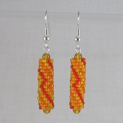 Earrings beaded red and gold