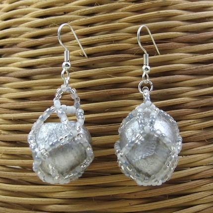 Beaded hazelnuts earrings - Moonlight on Snow