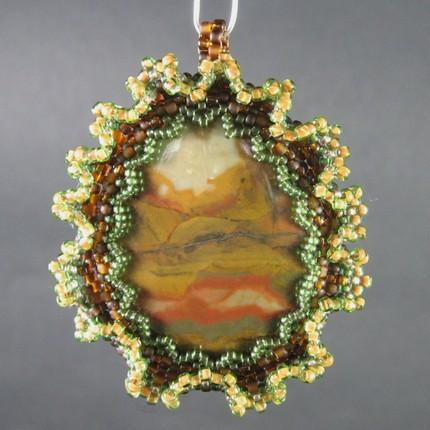 Semi precious cabochon pendant with beadwork - Rocky Butte Picture Jasper
