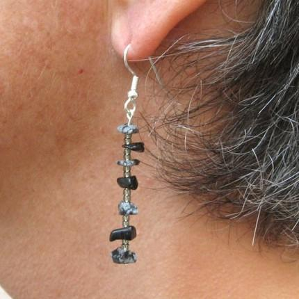 Snowflake obsidian chip dangle earrings