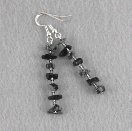 Snowflake obsidian chip dangle earrings
