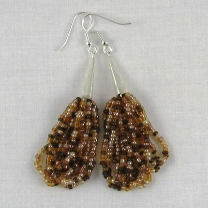 Earrings, multi strand beads, shades of amber