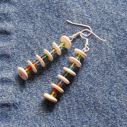 Earrings wood and glass beads dangle