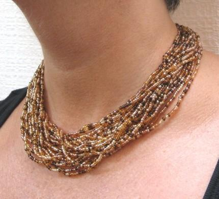 Beaded necklace multi strand amber gold