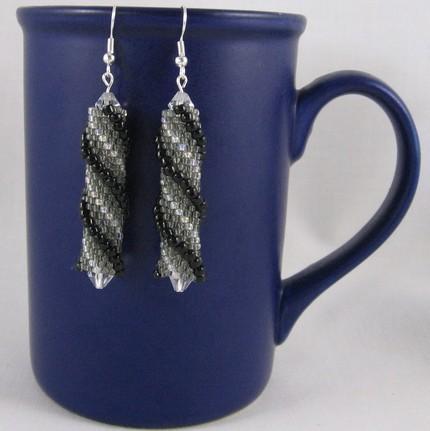 Beaded  helix earrings black grey