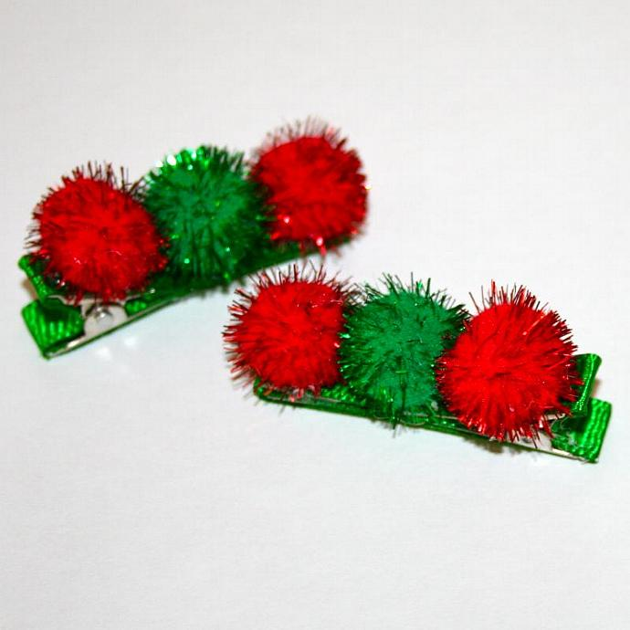 Christmas Pom Pom Hair Clips - Set of 2