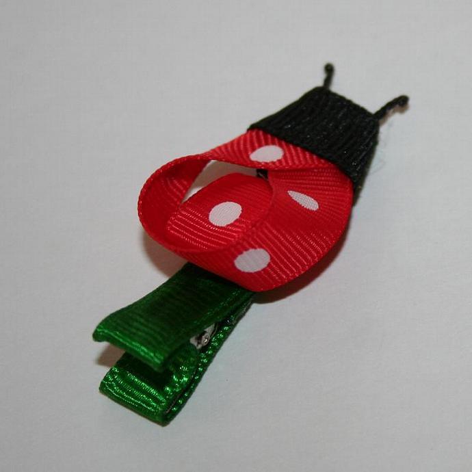 Ribbon Ladybug Hair Clip