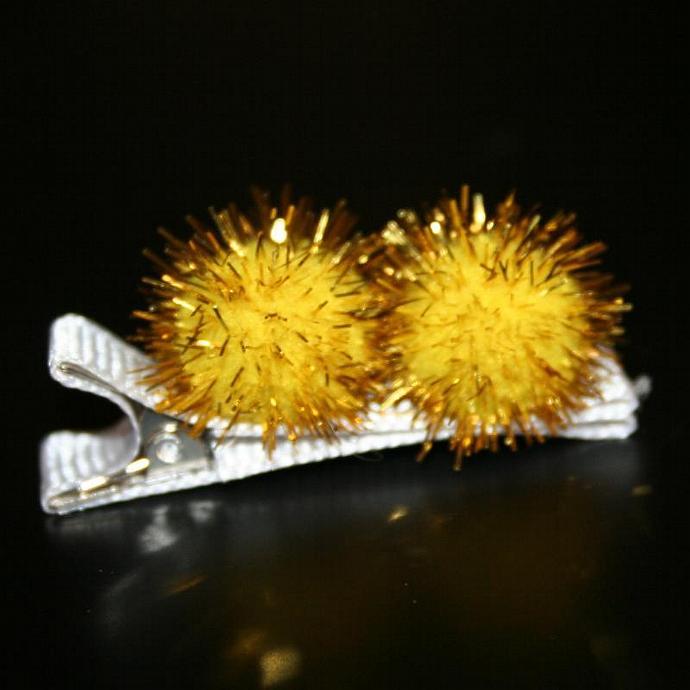 Yellow Pom Pom Hair Clip